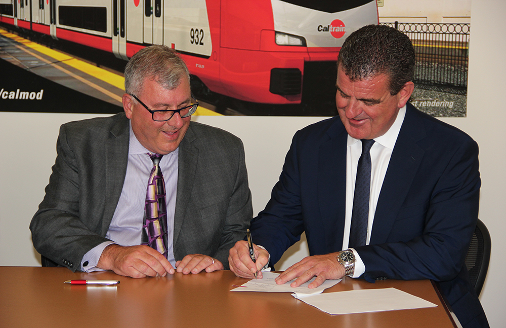 Caltrain signing ceremony with Jim Hartnett, CEO Caltrain and Peter Spuhler, Group CEO / Owner. Photo: Stadler Rail